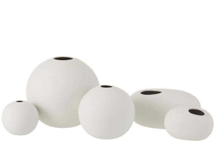 Vase Kugel Keramik Matt Weiß Small