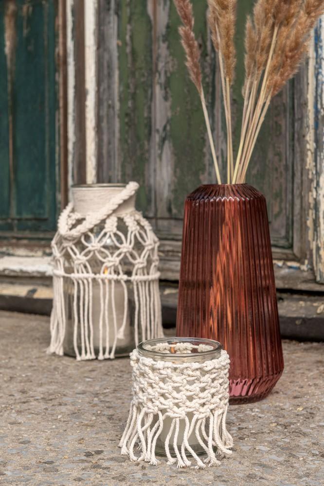 Teelichthalter Makramee Glas/Seil Transparent/Naturell