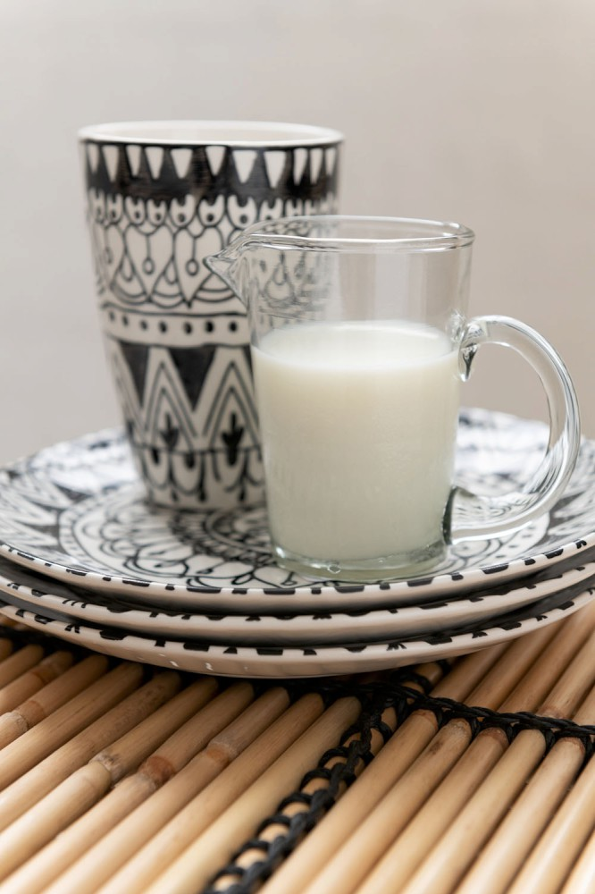 Teller Mono Boho Keramik Schwarz/Weiß Small