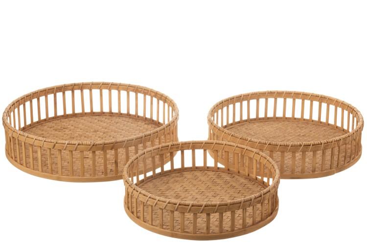 Tablett Rund Bambus Naturell in 3 Größen