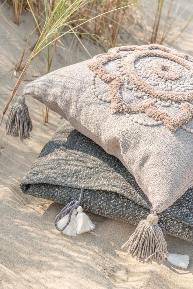 Kissen Blumen+Quasten Baumwolle Weiß