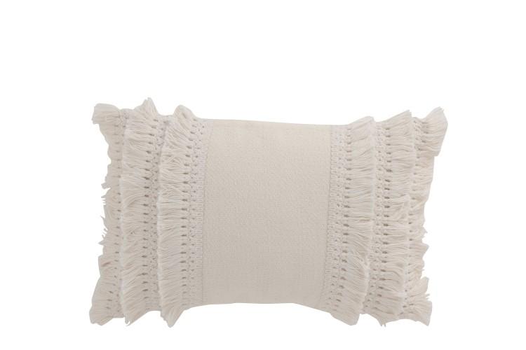 Kissen Rechteckig Rand Quasten Baumwolle Weiß