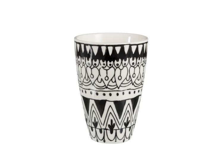 Tasse Mono Boho Keramik Schwarz/Weiß